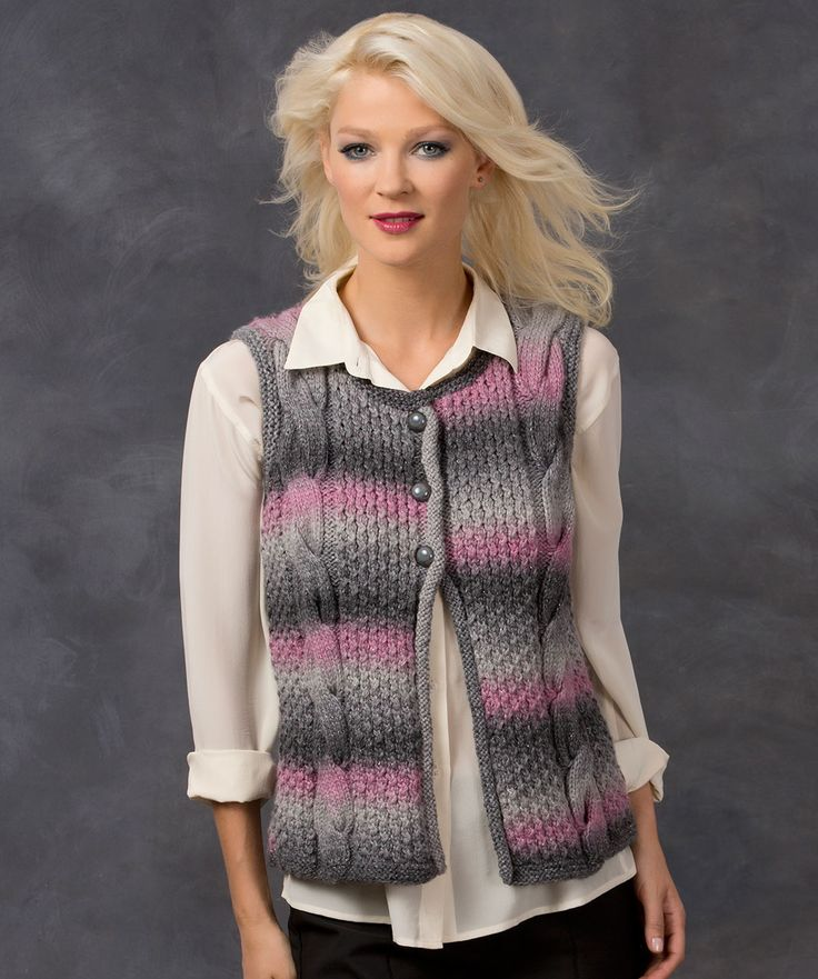 Cable Best Vest Knitting Pattern #knit #redheartyarns #boutique