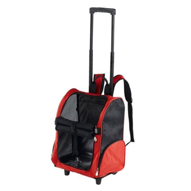 Transportín Para Gatos Arppe Trolley Rodder Rojo