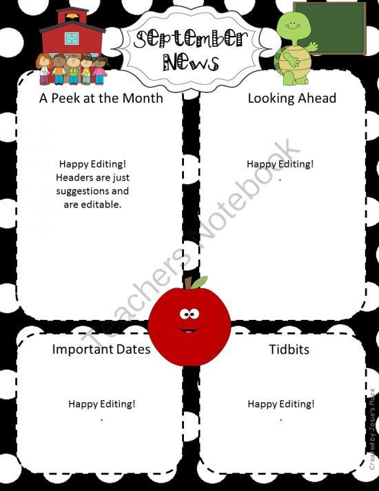 68 best Class Newsletter images on Pinterest Newsletter ideas - preschool newsletter template