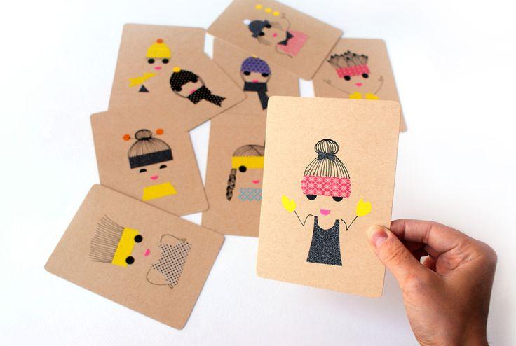 Une idée de cartes simples à réaliser : du papier, des gommettes et un peu de masking tape et en 3 coups de crayons créez des portraits uniques et colorés !