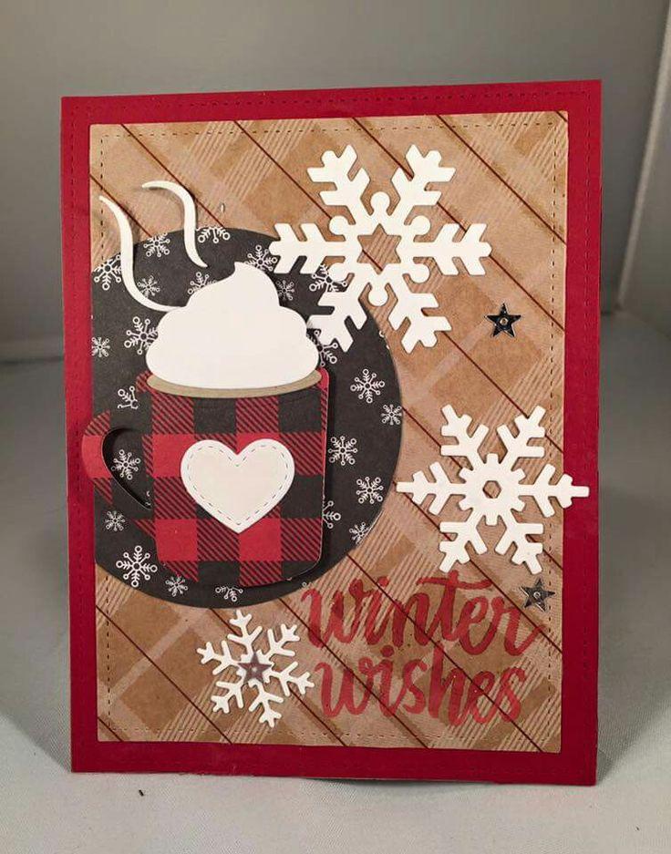 card MFT Hot Cocoa Cups Die namics plaid