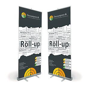 Discountprints billige Roll-up system produceres i formatet 85x200cm. og leveres med transport-/opbevarings taske, Vejer ca. 4 kg inkl. taske.