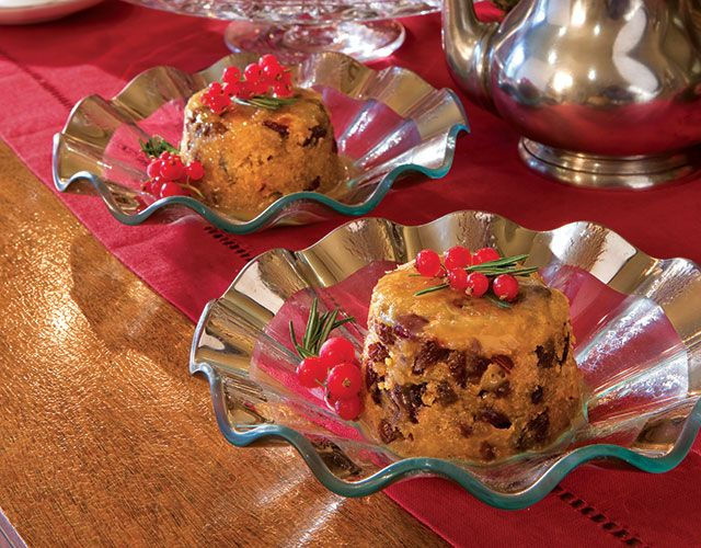 This modern interpretation of a traditional English Plum Pudding is made in the microwave oven.