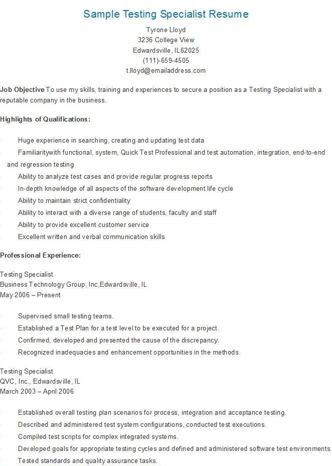 sample testing specialist resume - Staffing Specialist Resume