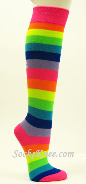 Neon Color Rainbow Striped Knee High Socks