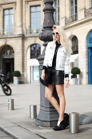 30 Outfits That'll Make You Want a Black Leather Skirt
