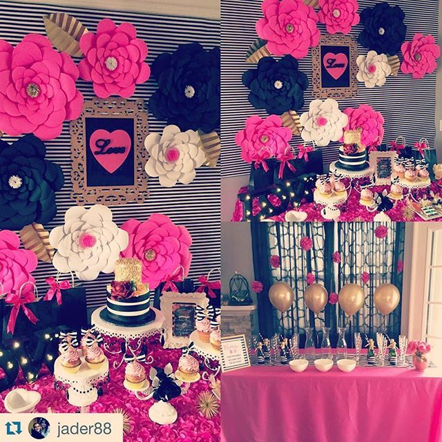 #TBT to this fabulous Kate Spade themed Bridal Shower!! my all time favorite! #backdrop #pink #flowers #paperflower #katespade #theme #flowerwall #flowerbackdrop #blackandwhite #la #losangeles #birdal #bride #bridalshower