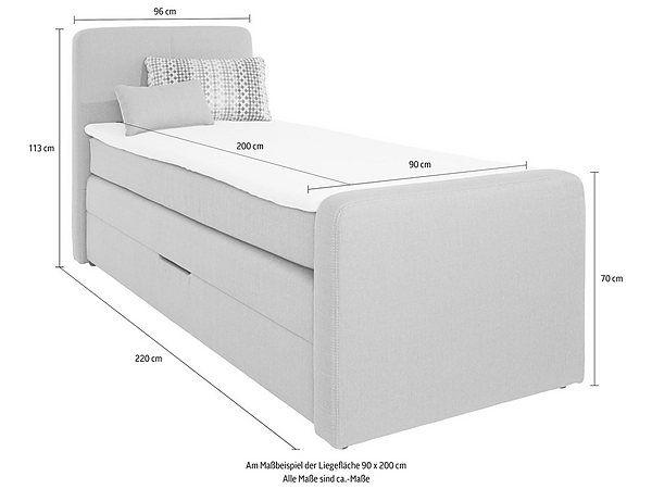 Jetzt Boxspringbett mit Bettkasten inkl. Topper und Kissen günstig im yourhome Online Shop bestellen