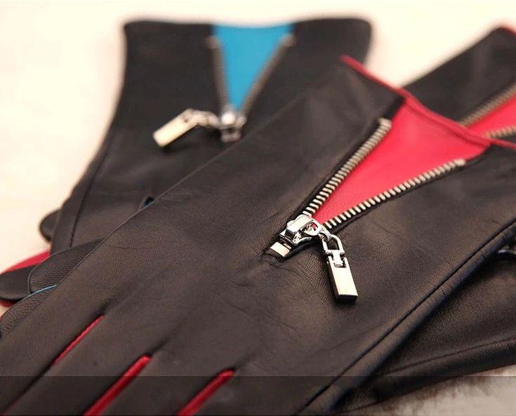 Женщины Натуральная Кожа Перчатки 2017 Топ Мода Цветовой контраст С Молния Запястье Тепловой Козьей Для Зимнего Вождения L141NQ купить в магазине YC leather gloves factory на AliExpress