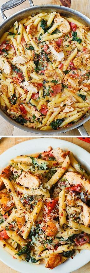 Chicken and Bacon Pasta with Spinach and Tomatoes in Garlic Cream Sauce –…
