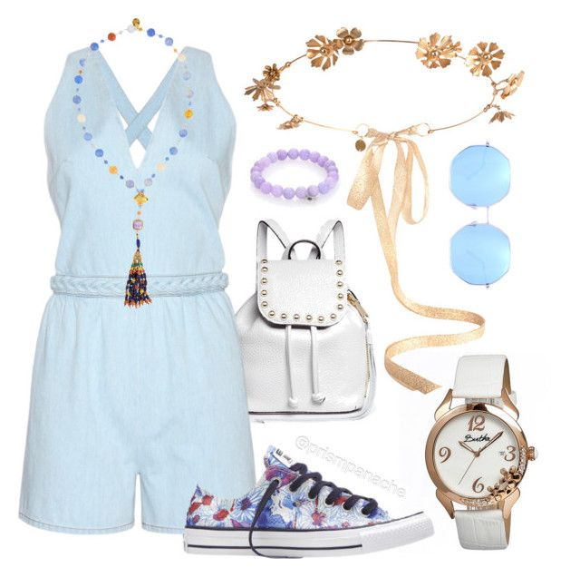 #Valentino Denim #Playsuit #Romper // #DevonLeigh Mixed Stone Tassel Pendant Necklace // #EugeniaKim Athena #FloralCrown // #SydneyEvan Diamond, Lavender Jade & 14K White Gold #EvilEye Beaded Stretch Bracelet // #QuayAustralia #Quay Blue Kiss And Tell Sunglasses // #RebeccaMinkoff Micro Leather #StuddedBackpack // #Converse Chuck Taylor All Star Daisy Print Sneaker // #Bertha Daisy Mother-Of-Pearl Watch // #coachella #spring2016 #springfashion #casualchic #prismpanache @prismpanache
