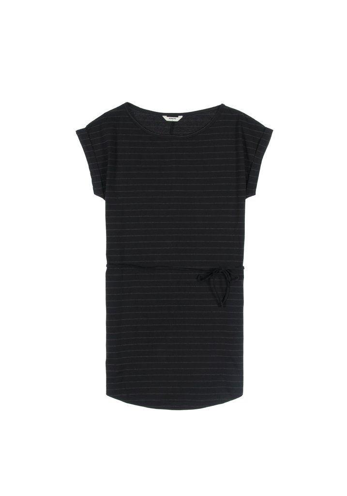 Wemoto Kano stripe dress - Black/black melange