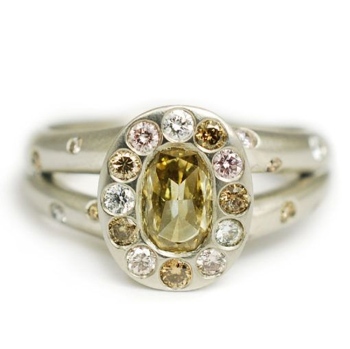 Cute Custom engagement ring made with platinum carat honey champagne diamond and ctw champagne diamond melee custom made and designed by Abby Sparks Jewelry