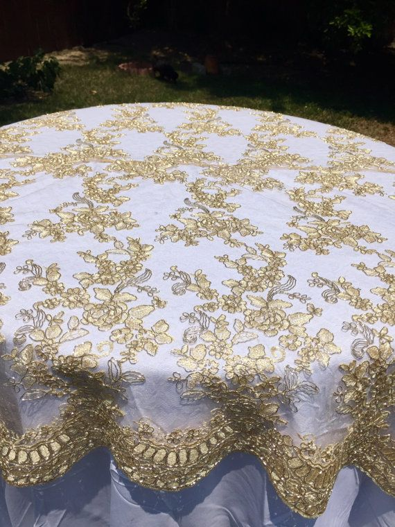 Gold Lace Tablecloth Gold Table Overlay Lace Table Overlay