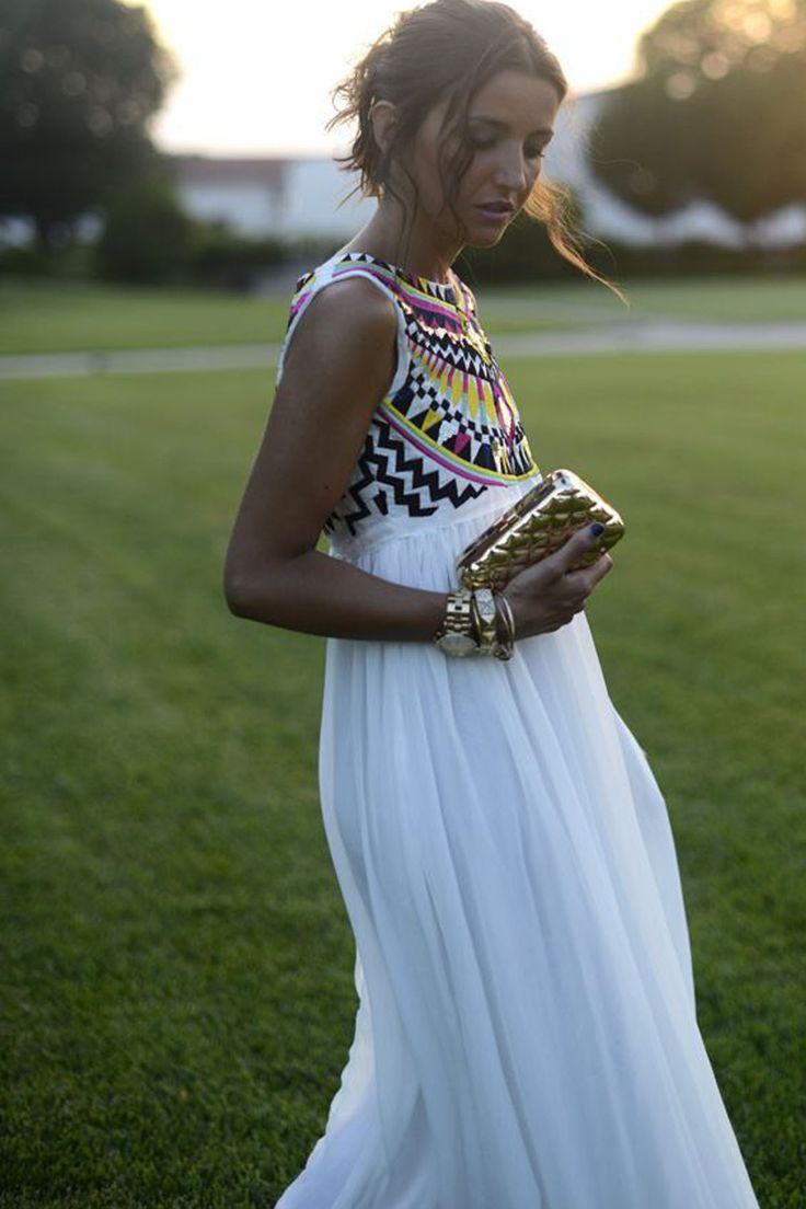 Sleeveless Print Patchwork Pleated Long Beach Bohemian Dress