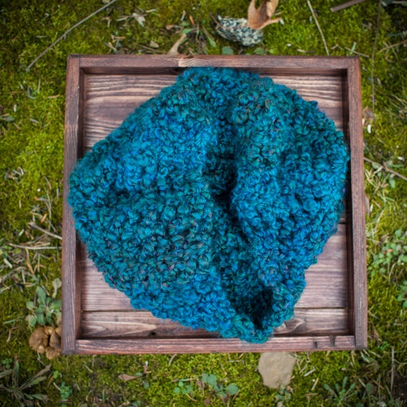 Teal crochet cowl, scarf, infinity scarf, snood, chunky knit, teal, turquoise, blue. $28.00, via Etsy.