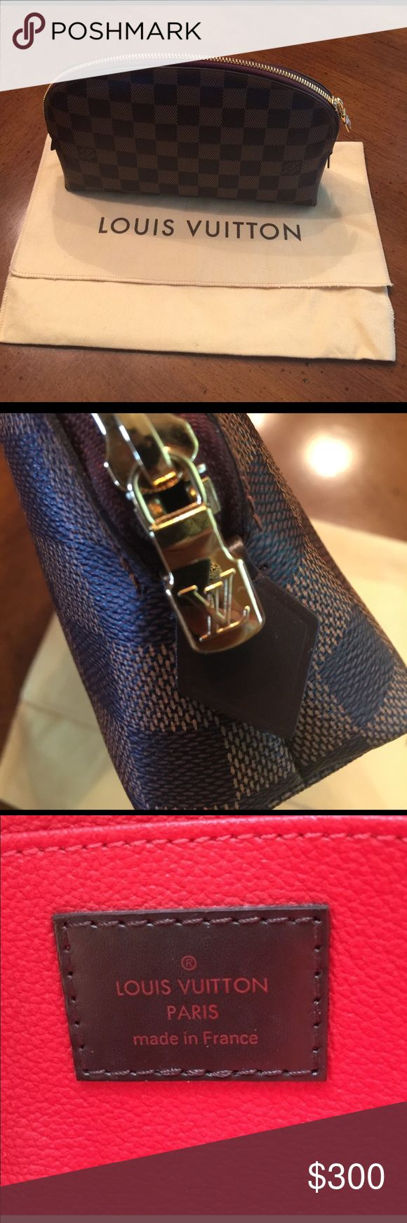 Louis Vuitton Cosmetic Case GM Louis Vuitton cosmetic case Demier Ebene w/ dust cover.  Date code is difficult to see.  It is right a seam in inside pocket.  Please see attached pic. Code looks like SR 0144. If you have any questions please Thanks Louis Vuitton Bags Cosmetic Bags & Cases