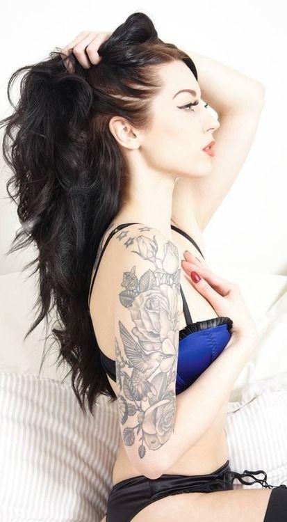 Pretty floral and bird half sleeve tattoo!