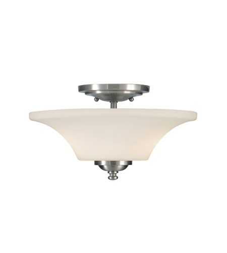 Feiss barrington 2 light semi flush mount in brushed steel sf240bs