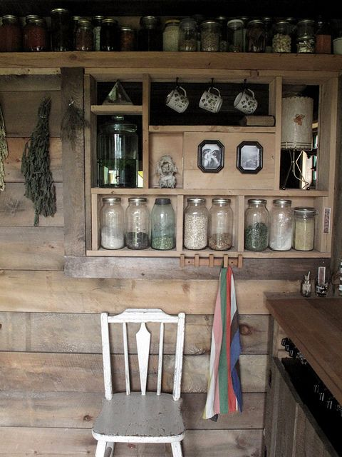 Could we use some of the barn wood to do this in the bathroom...wider shelves, maybe?