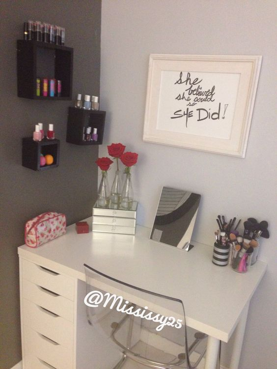 An IKEA desk turned into a makeup table. Absolutely lovely, but I think it could use a bigger mirror. Not so big that it over powers the inspiration picture above, but just a wee bit bigger than shown.