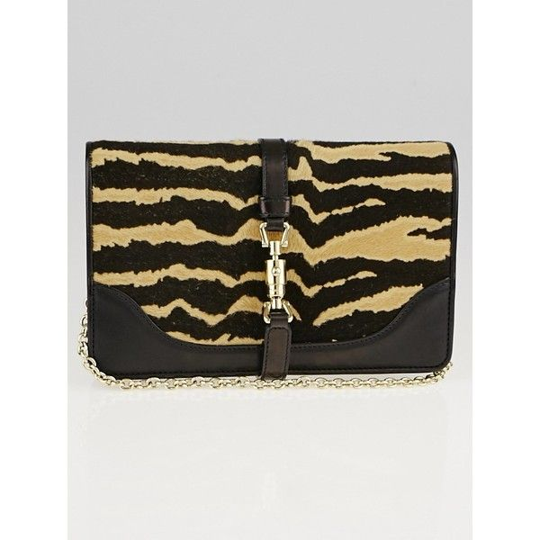 Pre-owned Gucci Zebra Print Calf Hair Broadway Evening Bag ($495) ❤ liked on Polyvore featuring bags, handbags, clutches, gucci, gucci clutches, pre owned handbags, chain strap handbag and gucci purses