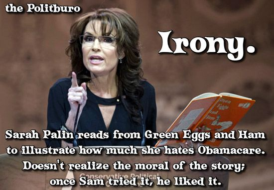 Funny Sarah Palin Pictures: Sarah Palin Reads Green Eggs and Ham