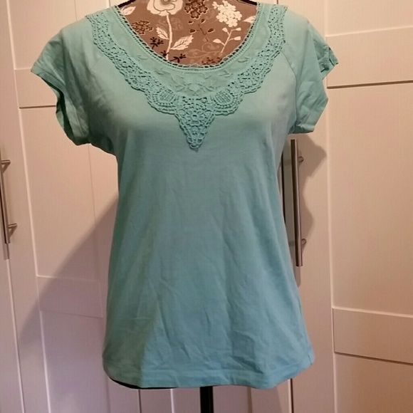 RALPH LAUREN  Cotton T Ralph Lauren summer cotton T with beautiful lace trim. It is more of a light teal color Ralph Lauren Tops Tees - Short Sleeve
