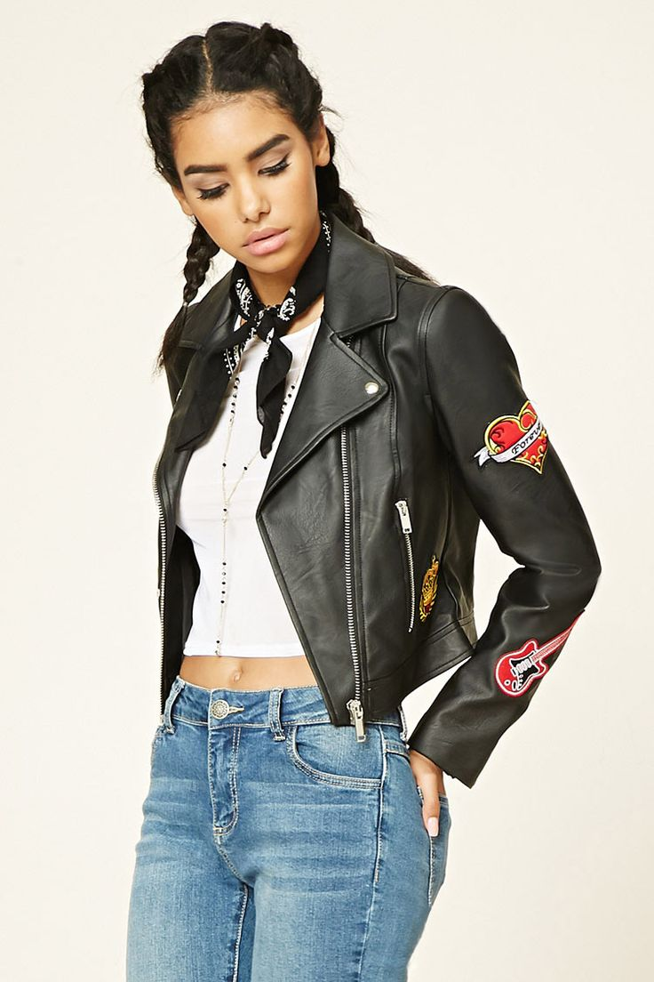 A faux leather moto jacket featuring an asymmetrical zip-up front, collar, two…