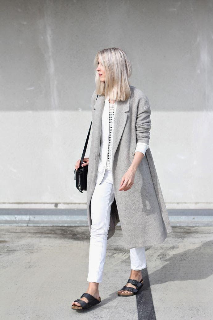 Look, outfit, streetstyle, estilo, birkenstock, birken, shoes, sapato, sandalia, big coat, gray, white, casaco, cinza, branco