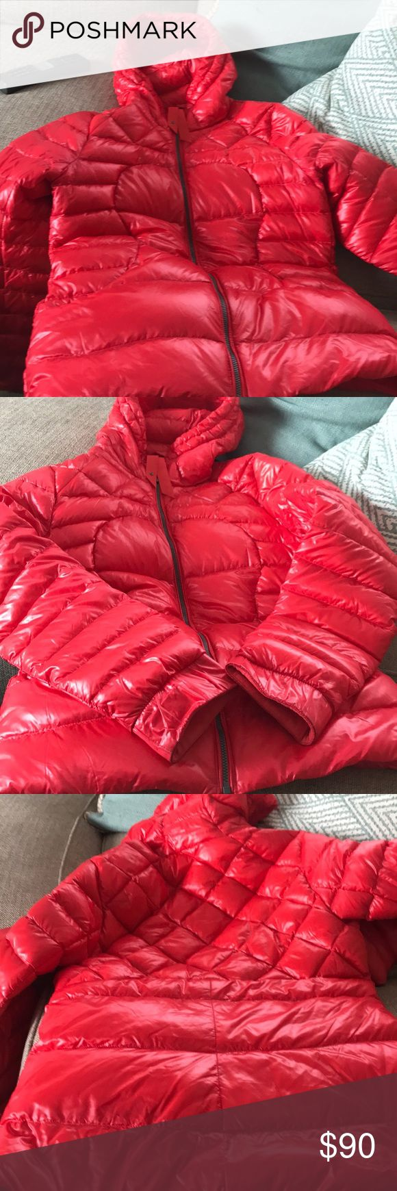 Never Worn!! Red Lulu Lemon Goose-Down Coat! Never worn! Great for spring or fall. Lightweight goose down hooded jacket. Don't pass up this deal! lululemon athletica Jackets & Coats