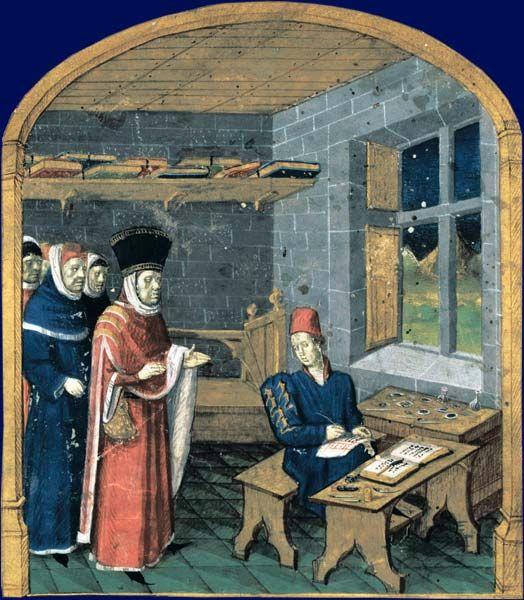 Patron visiting a scribe/illuminator in his workshop, by Jean Fouquet. Giovanni Colonna, Mare historiarum, ouest de la France (Angers ?), milieu XVe siècle. Paris, BnF, département des Manuscrits, Latin 4915, fol.1. The patron is Guillaume Jouvenel des Ursins.