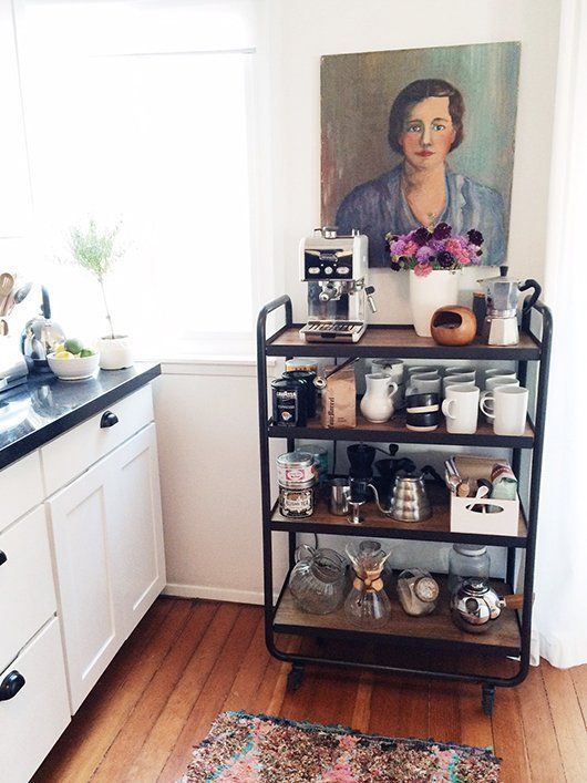 For Coffee Lovers:  A Kitchen Cart Devoted Entirely To Coffee Making  — Kitchen Inspiration