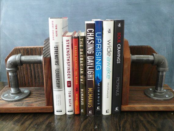 Reclaimed Lumber And Steel Pipe Book Ends Set Of 2 By