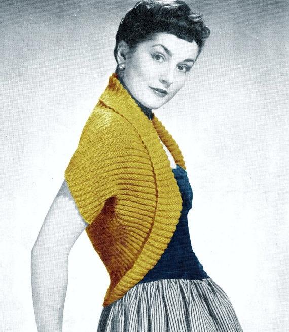 Vintage 50s Knitted  Knit SHRUG Evening Wrap PDF door KinsieWoolShop, $3.20