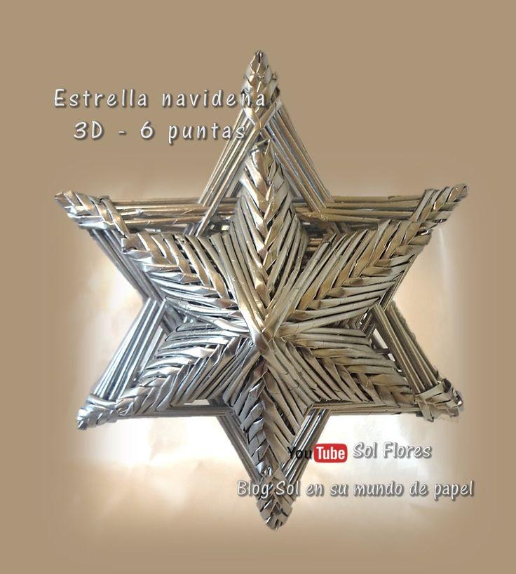 Estrella 3D de seis puntas con papel periódico   Lo que más te gustará es lo fácil de hacer y lo hermosa que queda.     MATERIAL   Hoj...