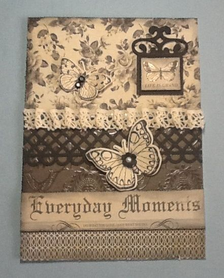 Kaisercraft Art of life papers, MS punch, Spellbinders Fancy tags 1, Hero Arts antique butterflies stamp and die set.