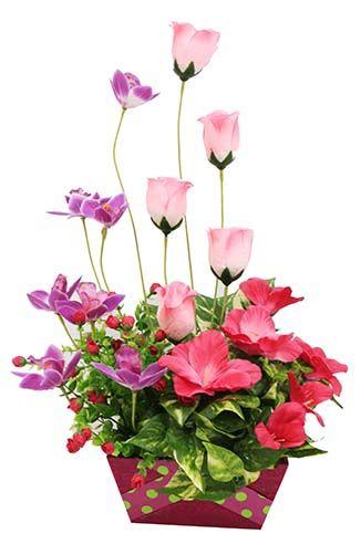 Maceta con flores rosas centro de mesa manualidades - Manualidades centros de mesa ...