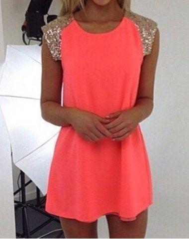 Attractive Scoop Neck Vivid Color Sequins Splice Dress For Women Summer Dresses | RoseGal.com Mobile