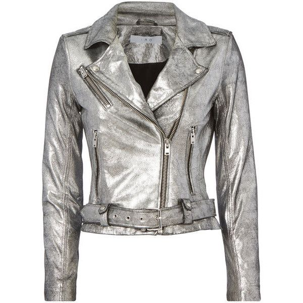 Iro Brooklyn Silver Leather Moto Jacket ($1,295) ❤ liked on Polyvore featuring outerwear, jackets, metallic, motorcycle jacket, white motorcycle jacket, metallic moto jacket, metallic jackets and rider leather jacket