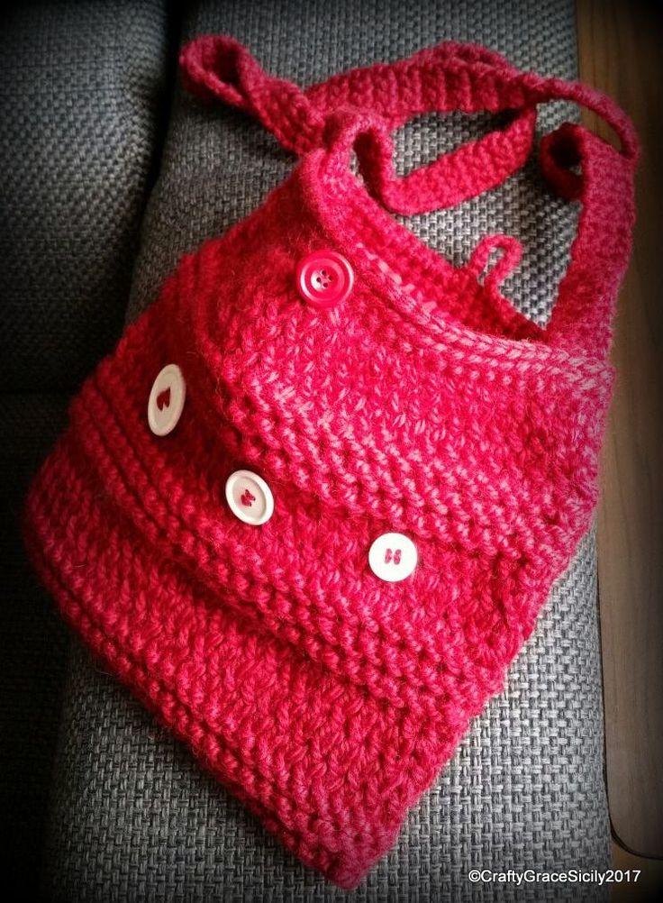 Borsetta a tracolla in lana bordeaux con bottoni bianchi di DrittoRovescio su Etsy