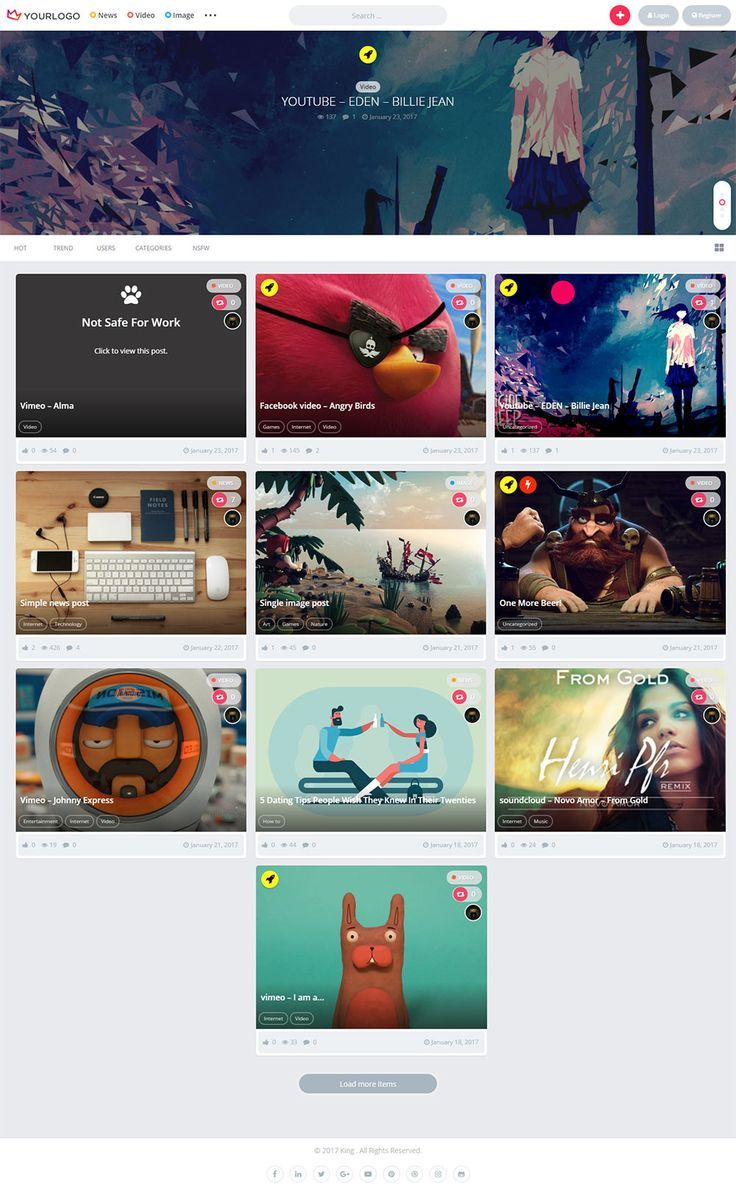 King WordPress Theme allows community users to submit news, videos, and images. It comes with user profile pages, follow system, sharing buttons, hot, trending listings and multiple ad locations and much more. #pinterest #card ui https://themeforest.net/item/king-wordpress-theme/19436704?ref=rabosch