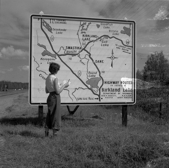 Trans Canada Highway Sign Near Kirkland Lake, Northern, Ontario, Canada, August 1954.