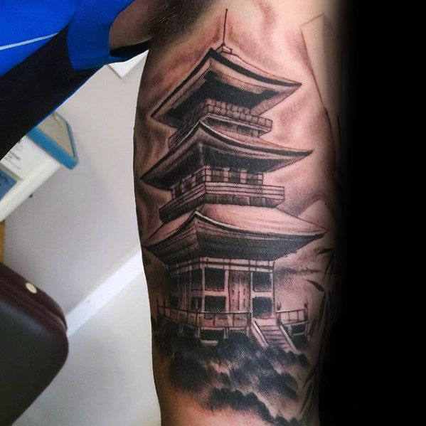 Awesome Guys Japanese Temple Tattoo Inspiration On Inner Arm
