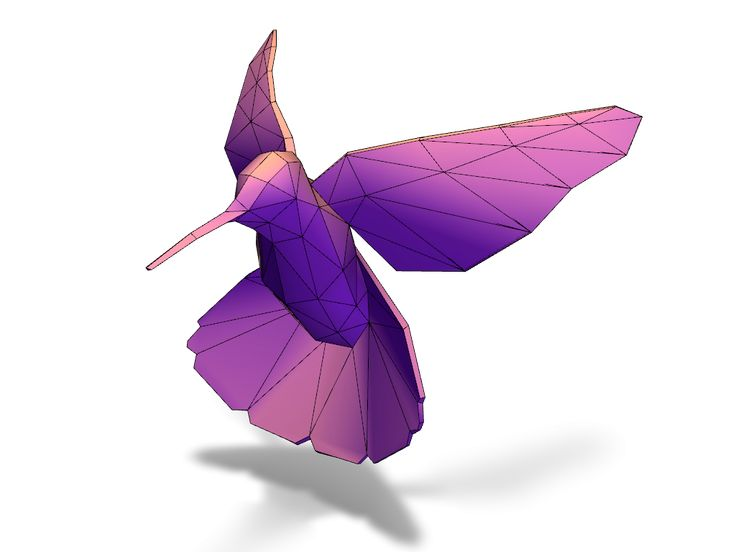 Lowpoly hummingbird - a 3D model created with VECTARY - the free online 3D modeling tool #3Dprinting