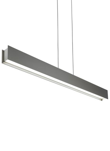 The Vandor linear suspension light from Tech Lighting uses parallel planes of cold rolled steel coated in matte rubberized paint to reveal decorative satin nickel endcaps which house a recessed LED source designed to distribute a significant punch of task lighting on surfaces below without glare.