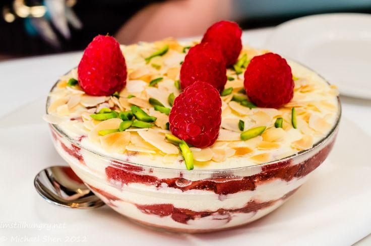 """Zuppa Inglese"": My Version of an Italian Trifle; Serves 2 Persons, Raspberry Jelly, Vanilla Mascarpone, Lemon Sponge, Pistachios, Poached Rhubarb  #imstillhungry #sydneyfood"