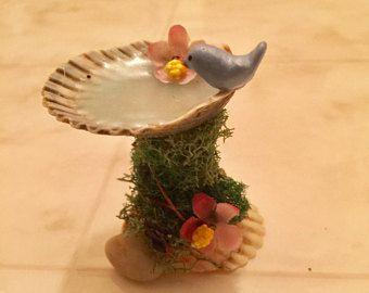Brown Bird on Miniature Fairy Garden Bird Bath  Micro