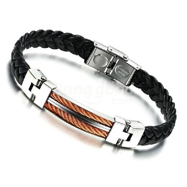 Stainless Steel Weave PU Leather Chain Bracelet Men Jewelry