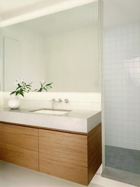 Bathroom mirror wall. I love how simple and clean looking this is. Ensuite timber Bathroom vanity